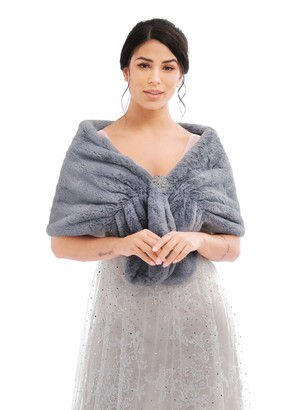 Aukmla Women's Wedding Fur Wraps and Shawls Bridal Fur Stole and Scarves with Brooch for Bridesmaid (Gray)