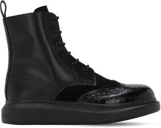 Alexander McQueen Brogue Leather Lace-Up Boots