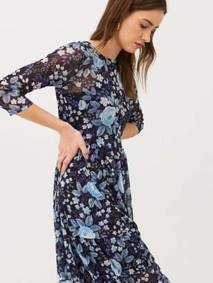 Very Mesh Floral Midi Dress - Blue Floral
