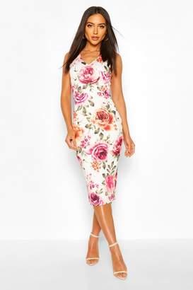 boohoo Floral Sleeveless Midi Dress