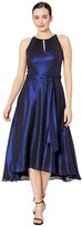 Tahari ASL Iridescent Chiffon Sleeveless Midi High-Low Hem Halter Dress (Royal Shimmer) Women's Dress