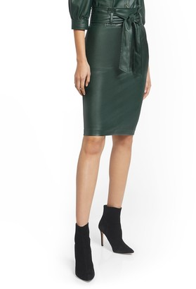 New York & Co. Green Faux-Leather Pencil Skirt - 7th Avenue