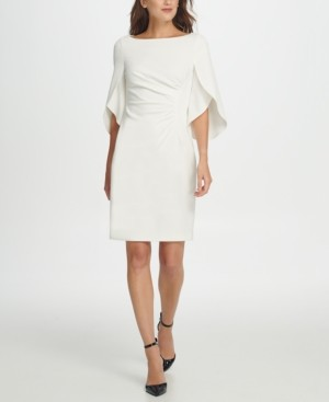 DKNY 3/4 Tulip Sleeve Side Ruche Sheath Dress