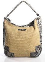 Calvin Klein Beige Woven Snakeskin Print Detail One Strap Tote Handbag