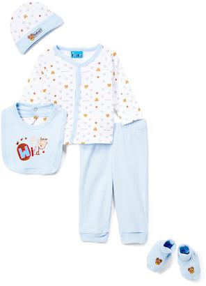 Sweet & Soft Boys' Casual Pants Light - Light Blue 'Wild Bear' Cardigan Set - Infant