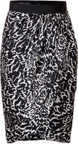 Giambattista Valli Silk Animal Print Draped Skirt