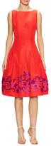 Oscar de la Renta Silk And Beaded Embroidered Flare Dress