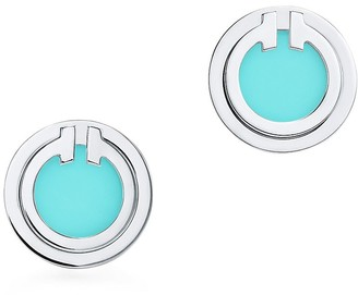 Tiffany & Co. T turquoise circle earrings in 18k white gold
