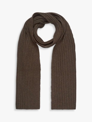 Brora Cashmere Ribbed Scarf, Forest