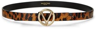 Mario Valentino Baby Python-Embossed Leopard-Print Leather Belt