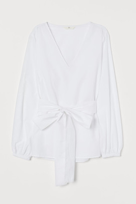H&M Blouse with Tie Belt - White