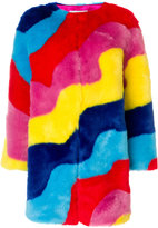 Mira Mikati rainbow wave fur coat