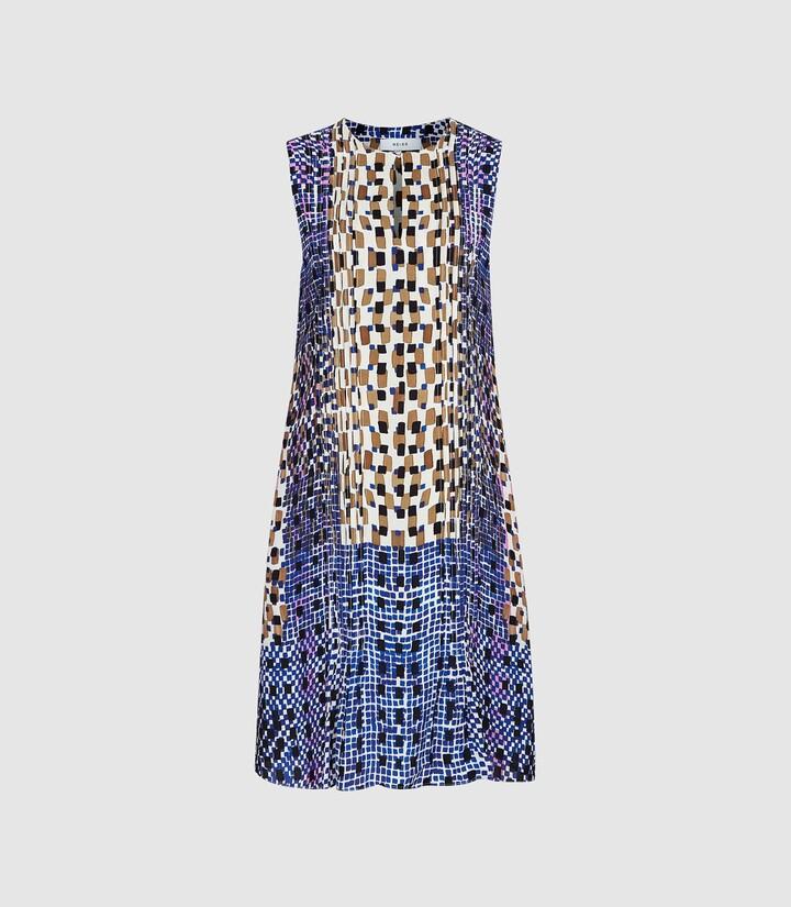 Reiss Saskia - Printed Shift Dress in Blue