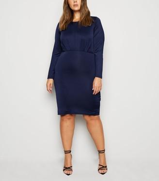 New Look Mela Curves Pleated Bodycon Dress