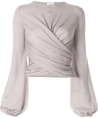 Giambattista Valli Long-Sleeve Wrap Blouse