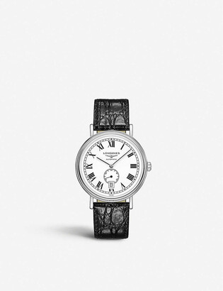 Longines L4.921.4.11.2 Presence stainless steel and crocodile-embossed leather watch