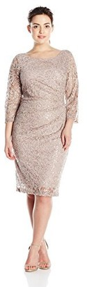 Marina Women's Plus Size Short 3/4 Sleeve Sequin Dress with Side Pleating and V-Neck Back