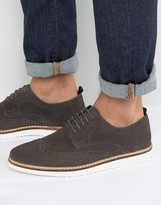 Asos Brogue Shoes In Gray Suede With Wedge Sole