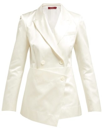 Sies Marjan Tommie Double-breasted Satin Blazer - White