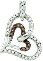 DazzlingRock Collection 0.30 Carat (ctw) 10k White Gold Round & White Diamond Ladies Heart Pendant