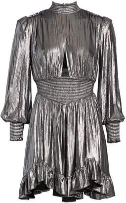 retrofete Melody Metallic Ruffle Puff-Sleeve Cutout Mini A-Line Dress