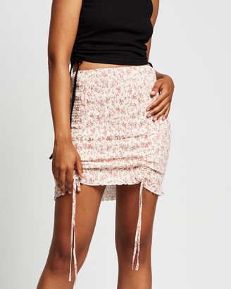Reverse Women's Pink Mini skirts - Tie-Up Shirred Skirt - Size XS at The Iconic