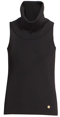 Balmain Sleeveless Ribbed Turtleneck Sweater