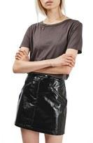 Topshop Women's Slick Coated Miniskirt
