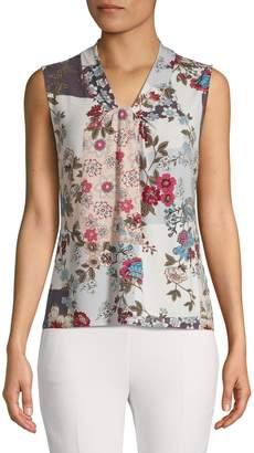 Calvin Klein Floral-Print Knot-Neck Sleeveless Top