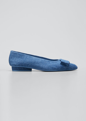 Salvatore Ferragamo Viva Denim Bow Pointed-Toe Ballet Flats