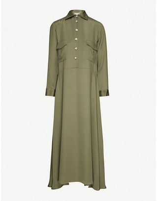 Giuliva Heritage Collection Aurora collar silk maxi dress