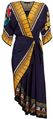 Etro Garden of Eden Faux-Wrap Silk Midi Dress