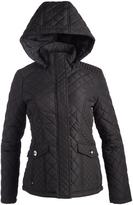 Weatherproof Black Tab-Back Hooded Quilted Coat - Plus Too