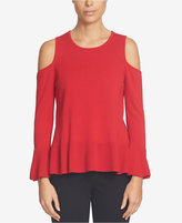 CeCe Cold-Shoulder Peplum Sweater