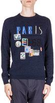 Kenzo Paris Symbol-Print Crewneck Sweater, Navy