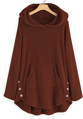 CELLABIE Women's Non-Denim Casual Jackets Brown - Brown Button-Accent Kangaroo-Pocket Hooded Pullover - Women & Plus