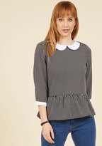 ModCloth Evening at the Easel Ruffled Top in Black Stripe in L