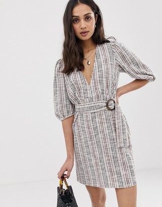 Asos Design DESIGN jersey boucle mini dress with belt-Multi