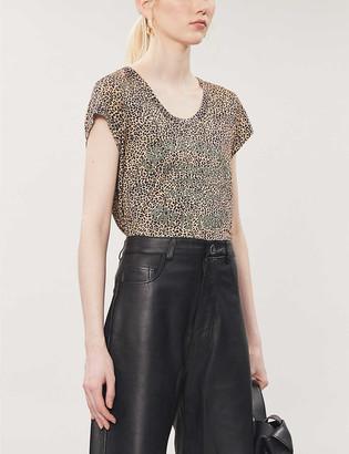 Zadig & Voltaire Leopard-print slogan linen T-shirt