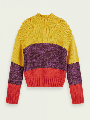 Maison Scotch Combo Chunky Knit Turtleneck Pullover - XS