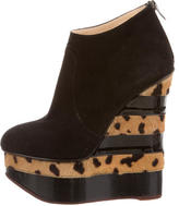 Charlotte Olympia Suede Wedge Ankle Boots