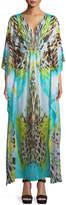 Luli Fama Mixed-Print Caftan Maxi-Dress