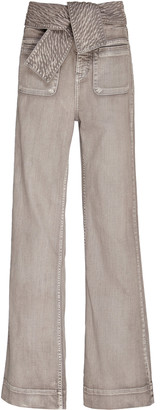 Ulla Johnson Wade Belted High-Waisted Wide-Leg Jeans