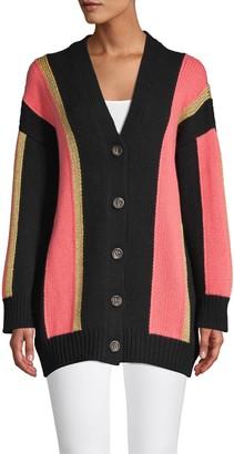 M Missoni Oversized Colorblock Wool-Blend Cardigan Sweater
