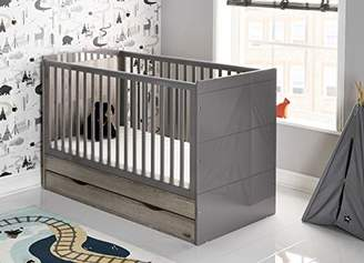 O Baby Obaby Madrid Cot Bed and All Seasons Pocket Sprung Mattress - Eclipse