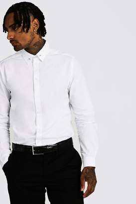 BoohoomanBoohooMAN Mens White Smart Cotton Shirt With Collar Bar, White