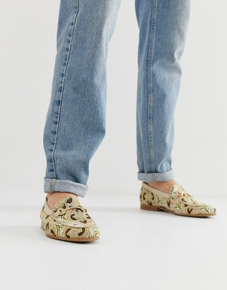 Walk London Jude embroidered loafers in beige
