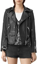 AllSaints Eaves Palm Tree Studded Leather Motorcycle Jacket