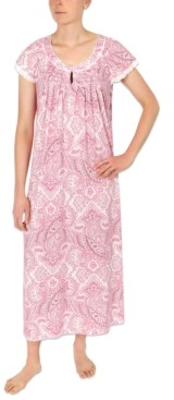 Miss Elaine Printed Knit Long Nightgown