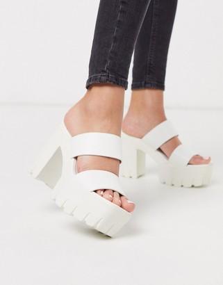 ASOS DESIGN Natty chunky platform heeled mules in white